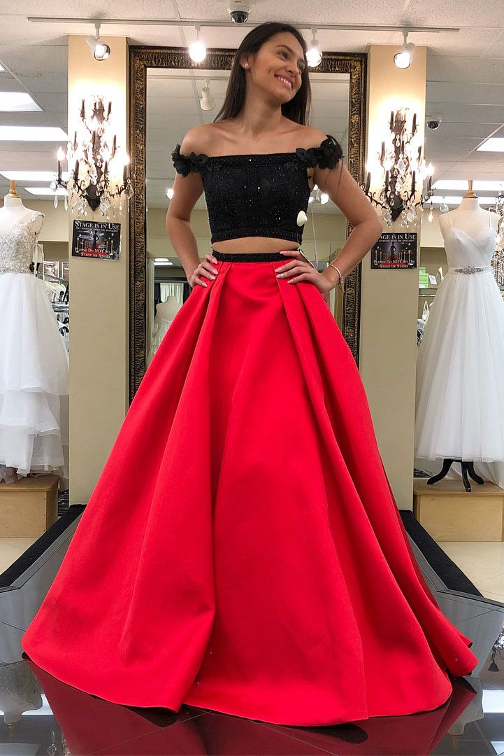 Priness Two Piece Black And Red Long Prom Dress 2018 Elegant Prom