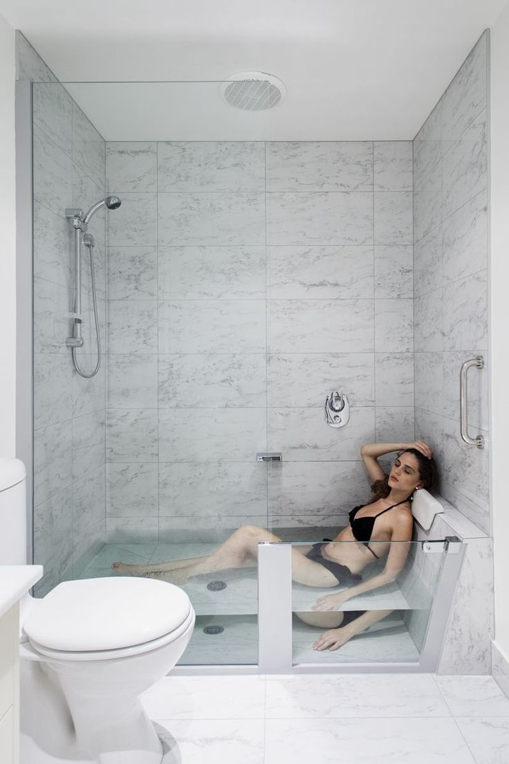 The shower easily converts into a comfortable and spacious bath #remodelingbathroom