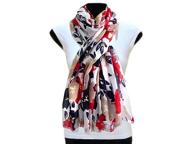 LARGE NAVY BLUE AND RED FLORAL PRINT LIGHTWEIGHT SCARF, £7.99 - A-SHU.CO.UK