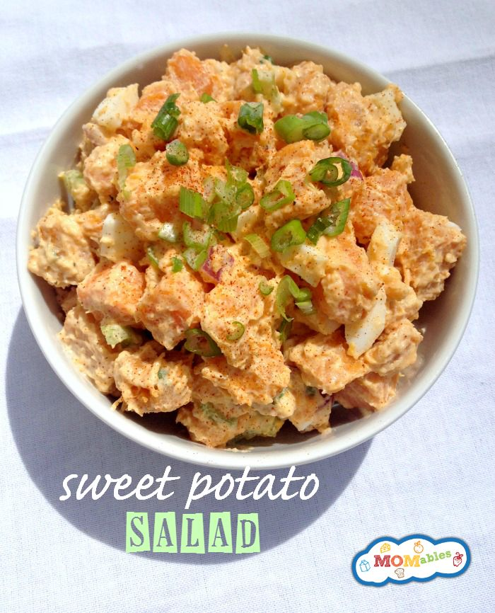 MADE IT:Sweet Potato Salad. Altered dressing version: 1/2 cup lite mayo, 1/2 cup plain yogurt, 2tsp apple cider vinegar, salt, pepper, 3 green onions chopped, 1/2 red pepper diced, 2 celery stalks, diced, 1/4 cup diced bacon.