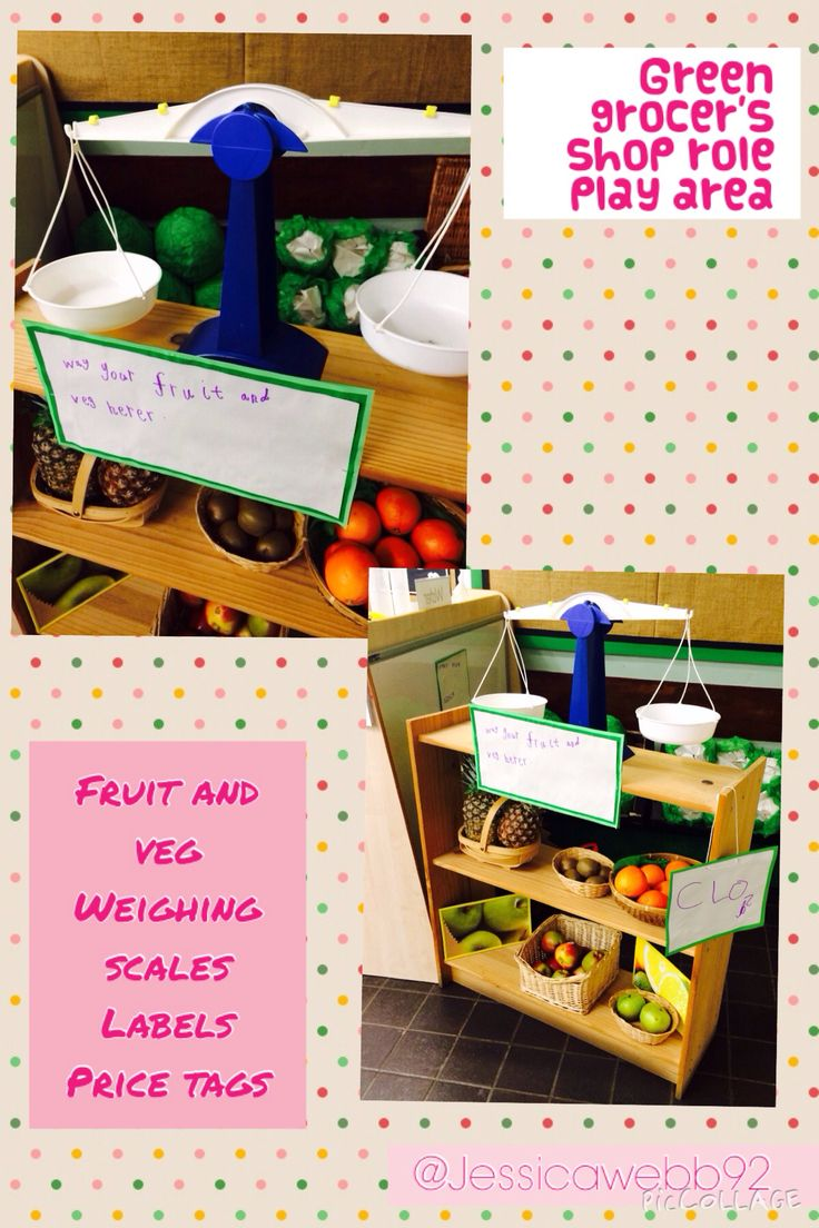 Green grocer's role play area. EYFS