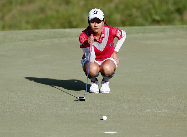 Ai Miyazato Photos - Ai Miyazato of Japan lines up a birdie putt on the fourth hole during the Yokohama Tire Classic on May 05, 2016 in Prattville, Alabama. - Yokohama Tire LPGA Classic - Round One