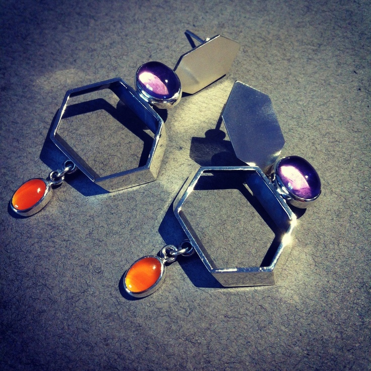 Cocktail Earrings - Crystallized Earrings - Amethyst, Carnelian & Sterling Silver
