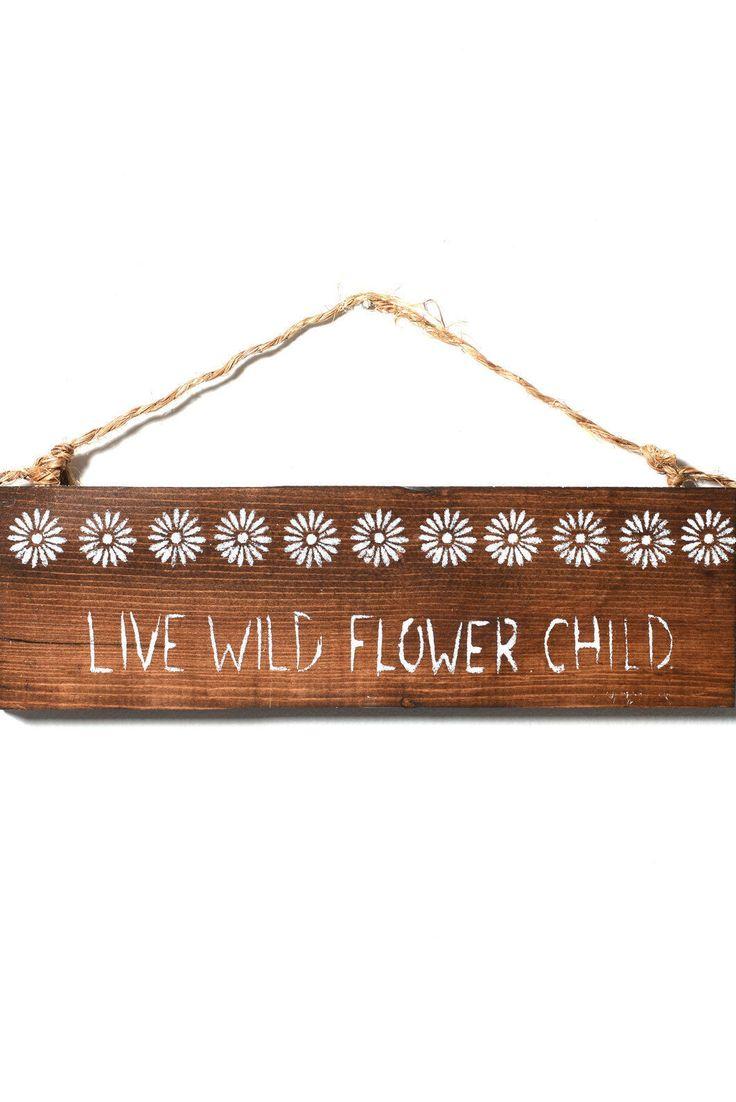 Sea Gypsy Wild Flower Child Wooden Sign in DARK BROWN