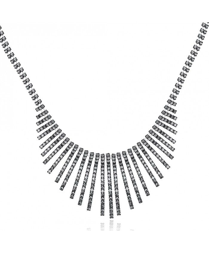 Ouruora Black Gun Plated Sector Crystal Necklace