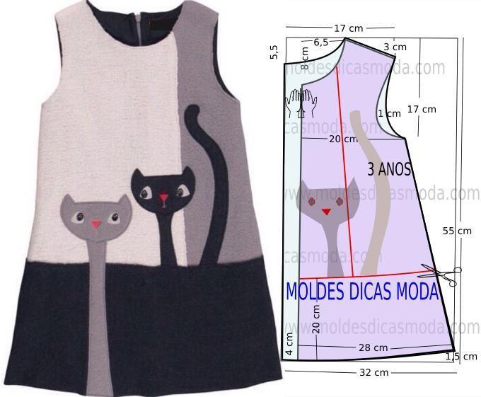O molde do vestido de criança encontra-se no tamanho 3 anos. A ilustração do molde de vestido de criança não tem valor de costura.: