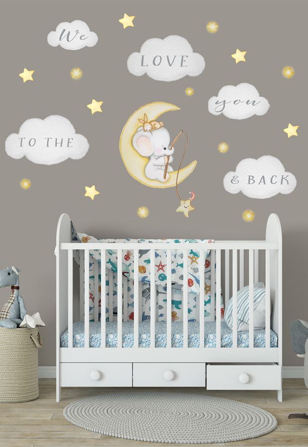 Elefant Wandtattoo Wolken Wandtattoo Mond Aufkleber Gold Sterne Elefant Sticker In 2020 Wandsticker Kinderzimmer Babyzimmer Wandaufkleber Wandtattoo Kinderzimmer Junge