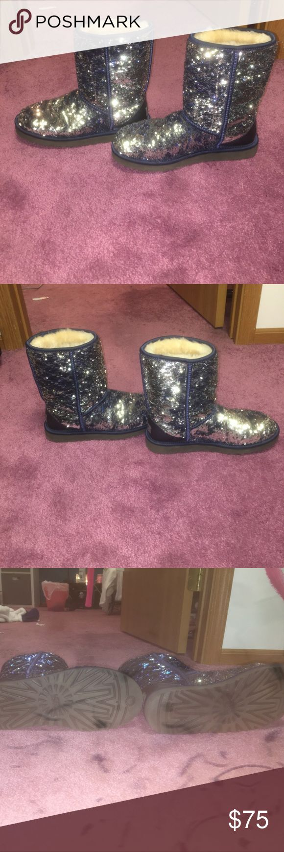 UGG Classic Short Sparkles Genuine Shearling Lined They can be blue or silver. Worn a couple times. In perfect condition. Have original box. UGG Shoes