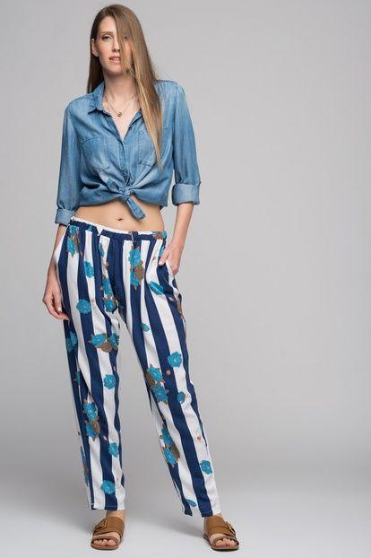 Kadın Lacivert-Mint Kalın Çizgili Çiçek Desen Bol Paça Pantolon