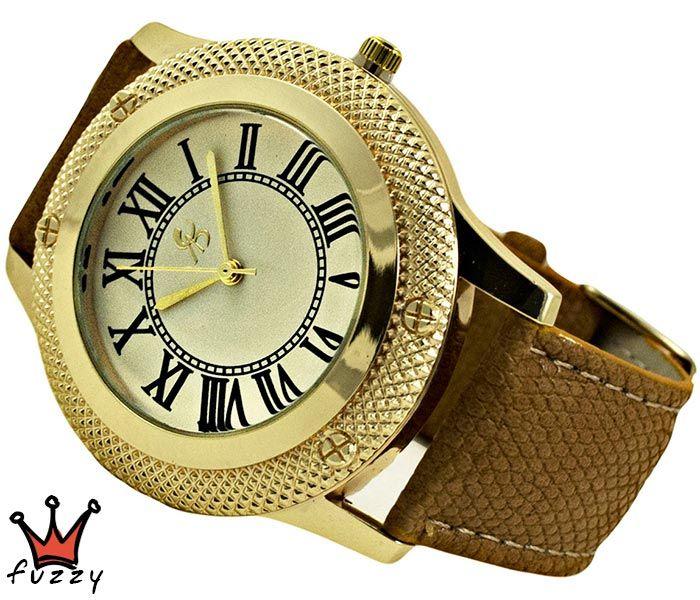 Γυναικείο ρολόι, σε χρυσό και εκρού, σε κλασσική γραμμή. Λουράκι δερματίνης σε σκ.μπεζ χρώμα. Διάμετρος καντράν 44 mm.