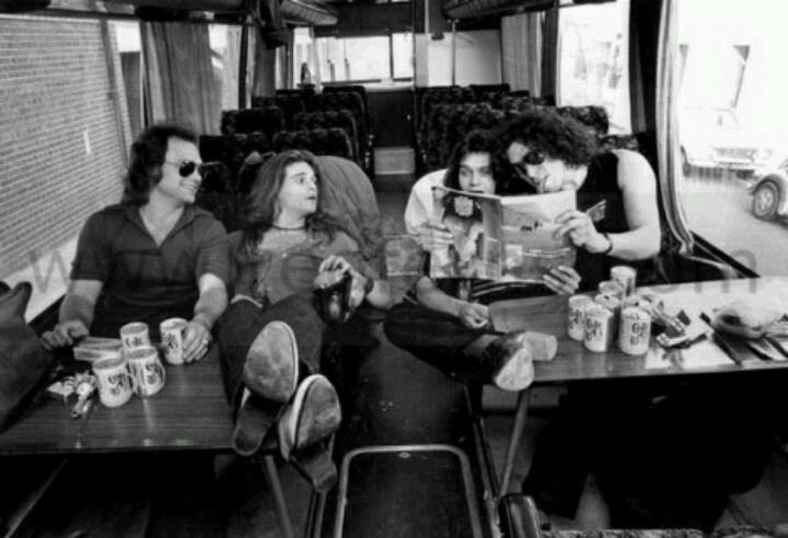 Van Halen on the tour bus