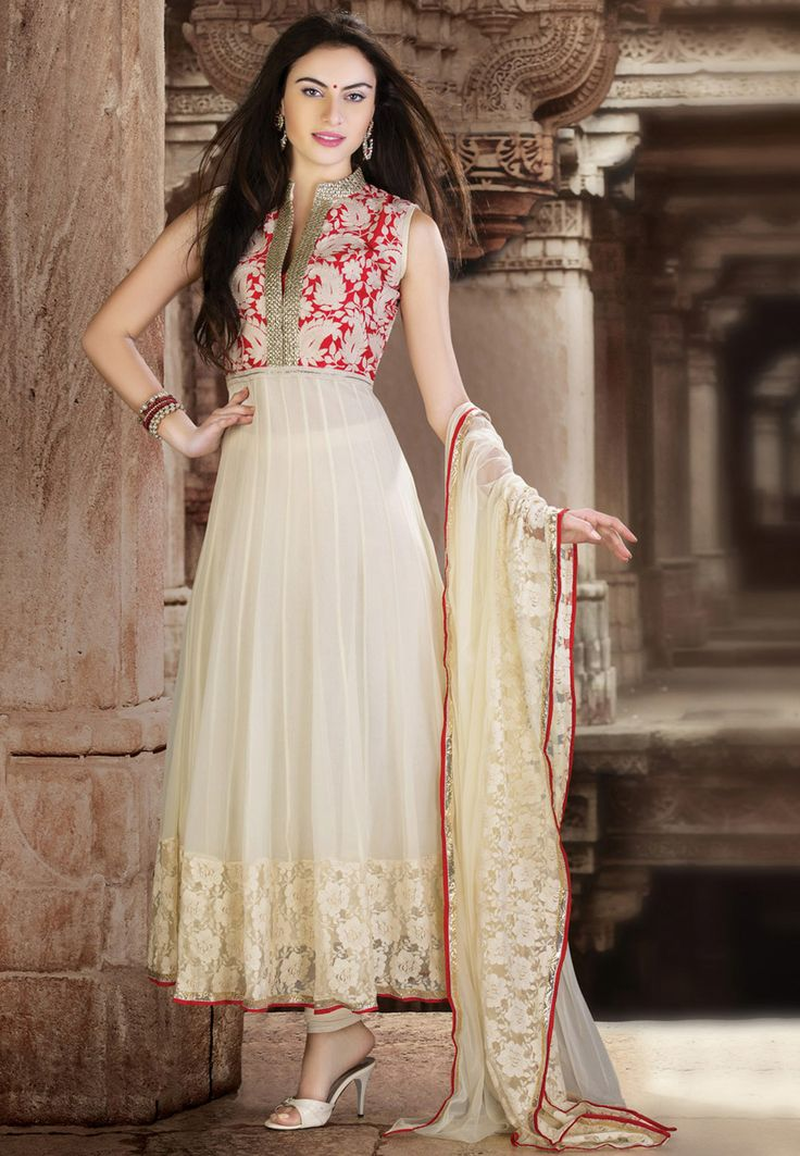 Off White Faux Georgette Readymade Anarkali Churidar Kameez Online Shopping: KWM4424