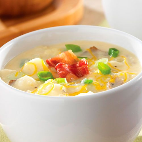 Loaded Baked Potato Chowder - The Pampered Chef® - a favorite of ours done in the Dutch Oven Rockcrok or Deep Covered Baker! I double the cheese and bacon is a must! SO easy!