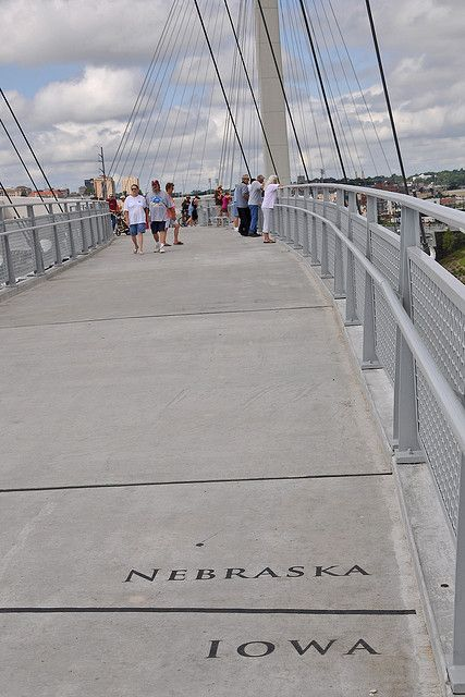 The Nebraska/Iowa state line is plainly marked on the Bob Kerry Pedestrian Bridge over the Missouri River connecting Omaha, Nebraska, and Council Bluffs, Iowa.