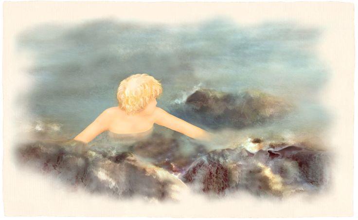 """""""Giancarlo al Lido"""". Illustrazione per il romanzo per ragazzi """"Vivere a Venezia"""", di Laura M. Cecilia Ferro."""