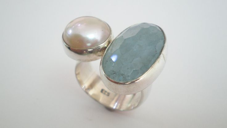 Handmade Silver Ring with a Natural Pearl and a Aqua Marine by IoJewellery on Etsy