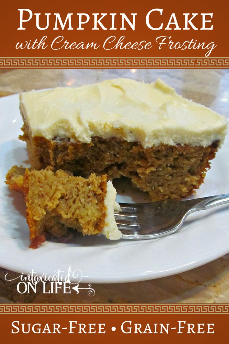 Pumpkin Cake with Cream Cheese Frosting (Gluten-Free & Sugar-Free) / #lowcarb shared on https://facebook.com/lowcarbzen