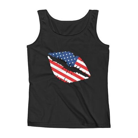 American Flag Tank Top - American Flag patterned on a image of a woman's lips or kiss mark. Great for 4th of July or daily patriotism.