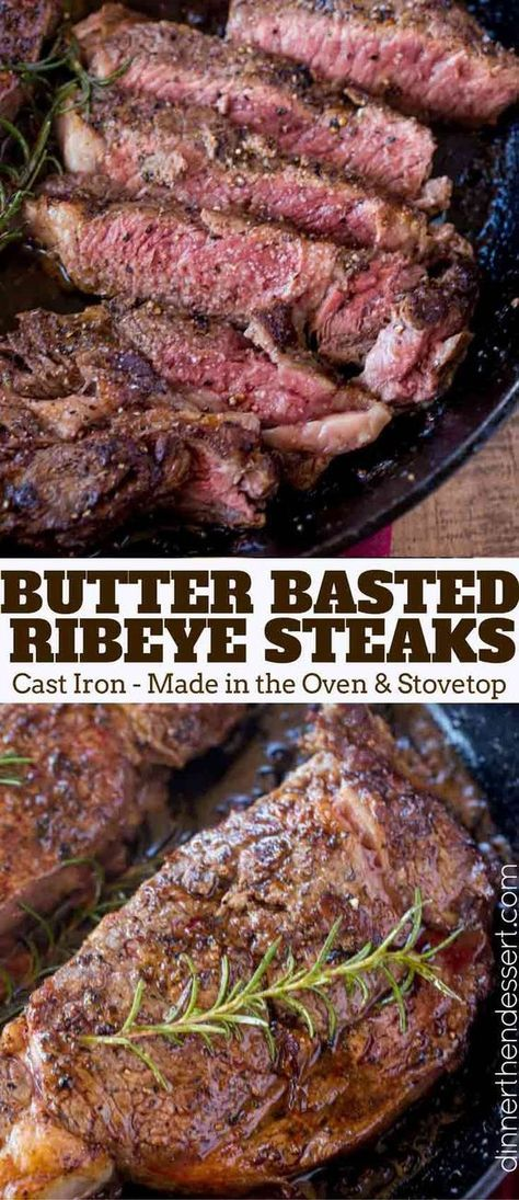 Perfect, Easy Ribeye Steak that is butter basted in a cast iron skillet in the oven with Rosemary. A Perfect error-proof medium rare in 20 minutes.