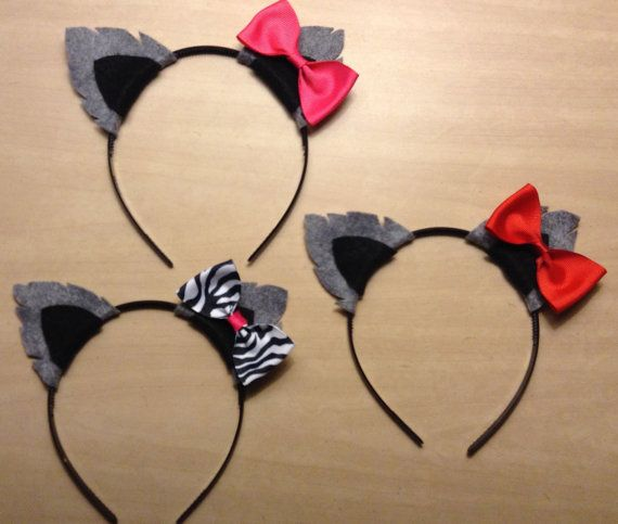 1 quantity headband wolf dog puppy ears with pink red bow or zebra bow headband birthday party costume photo booth prop pretend play