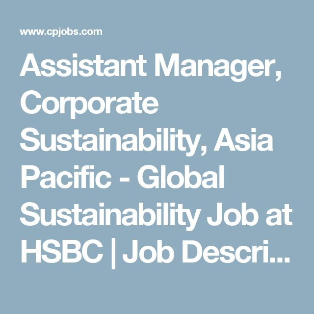 Assistant Manager Corporate Sustainability Asia Pacific  Global
