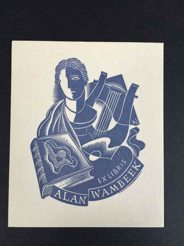 Bookplate for Alan Wambeek. The majority of Allan Jordan's Bookplates were printed at The Hawthorn Press, Melbourne by John Gartner (1914-1998), who was considered to be one of the finest printers in Australia. | eBay!
