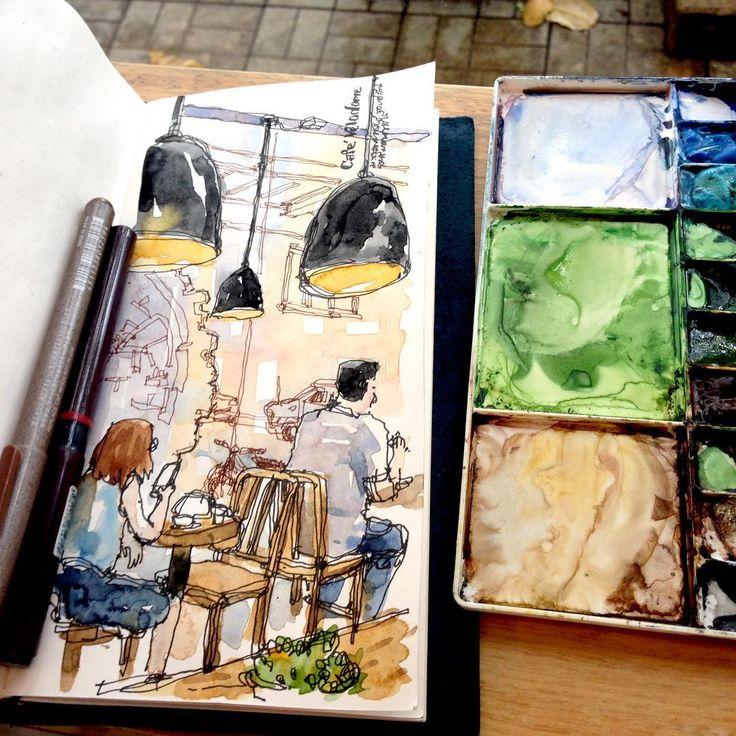 กิจกรรมระหว่างรอ at Café Velodome☕️ #lllouissketch #urbansketchers #bkksketchers #midoritravelernotebook