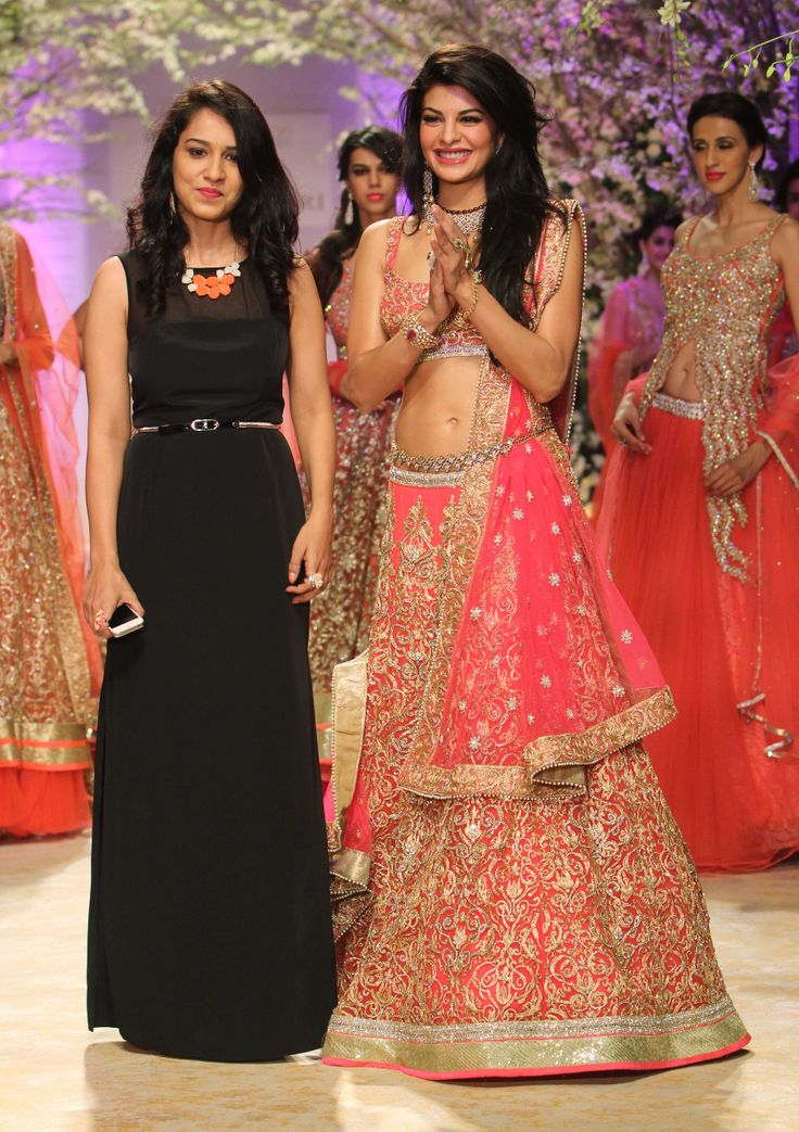 Jacqueline Fernandez with designer Jyotsna Tiwari