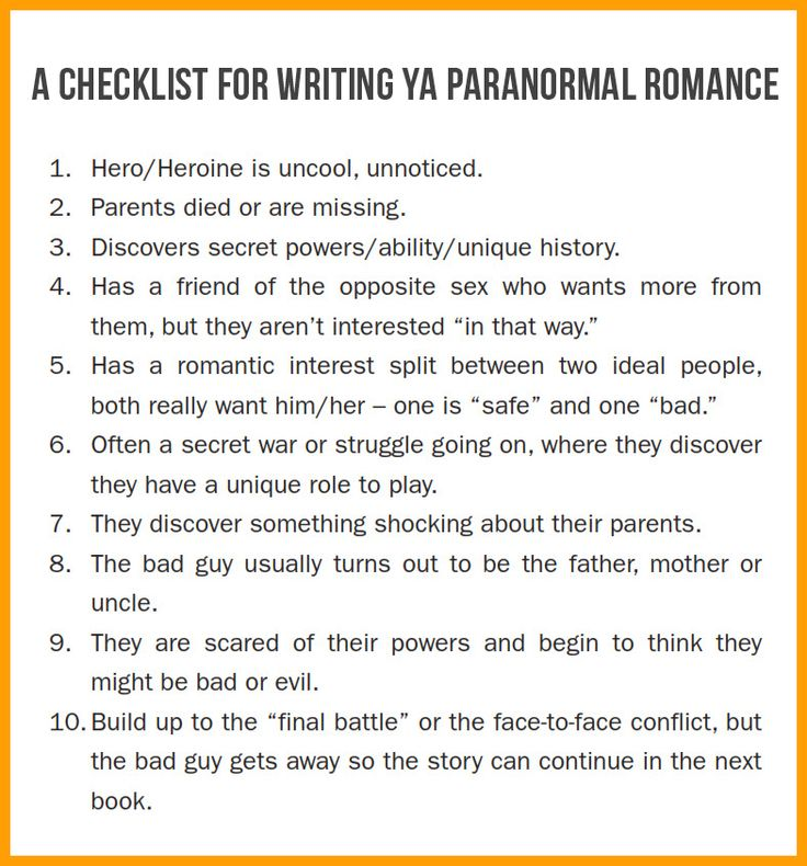 A Checklist for Writing YA Paranormal Romance