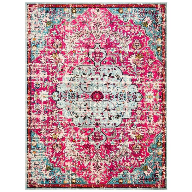 Safavieh Madison Sudbury Fuchsia Teal Indoor Vintage Area Rug Common 10 X 14 Actual 10 Ft W X 14 Ft L Mad447r 10 In 2020 Area Rugs Rugs Bohemian Rug