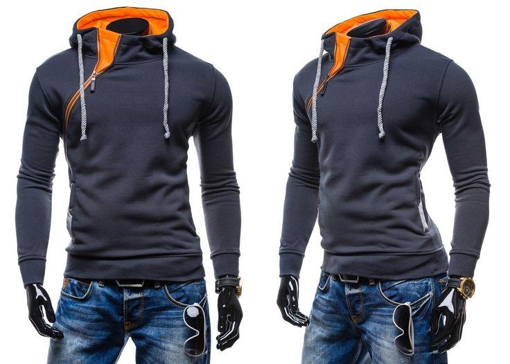 NEW FASHION 579 - GRAFITOWO-POMARAŃCZOWY | On  Bluzy męskie  Bluzy z kapturem | Denley - Odzieżowy Sklep internetowy | Odzież | Ubrania | Płaszcze | Kurtki