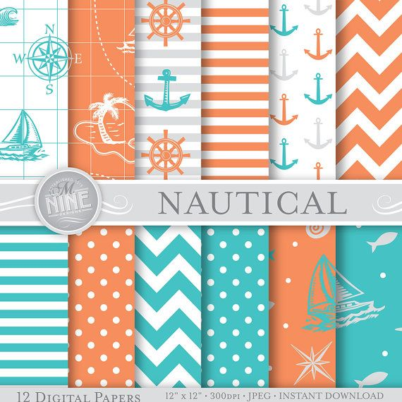 Instant Boats Teal : Nautical digital paper coral teal seamless pattern