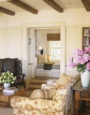 step-up nook: Cozy Nooks, Living Rooms, Wings Chairs, Interiors, Reading Nooks, Michael Smith, House, Window Seats, Wood Beams
