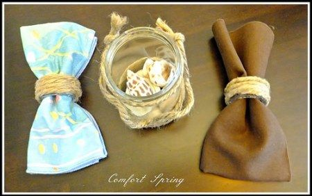 Rustic napkin rings and jar for coastal, cottage, country looks