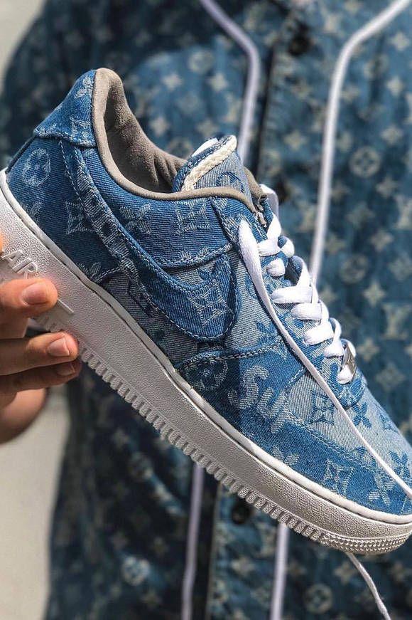 Nike Air Force 1 Supreme X Louis Vuitton Denim Custom Surfaces In 2020 Denim Sneakers Sneakers Trending Womens Shoes