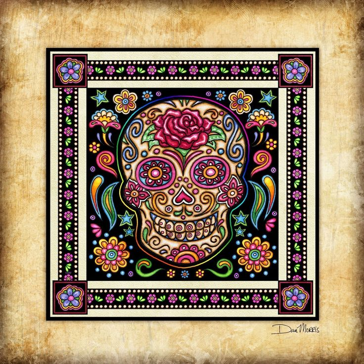 Day of the Dead Sugar Skull Art Print Dan Morris. Signed Art Print from the original illustration of Artist Dan Morris. The artwork is featured in the Fabric Fiesta collection by RJR Fabrics. Dan Morris is known for his stylized, realistic illustration and use of bold colors. Brighten up any wall space in your home or office with this stunning art print hand signed by the artist. •Premium Heavyweight Fine Art matte paper, acid free, and printed with Archival inks. • Signed by the Artist…