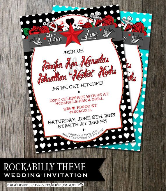 Are you looking for a stunning and totally fresh Rockabilly Wedding Design that won't break the bank?Rockabilly Wedding Invitation for that offbeat wedding, rockabilly bride n groom with roses, anchors swallows banners and more Digital Printable DIY Wedding Invite! $22.00, via Etsy.