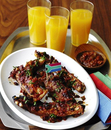 South African Spare Ribs with Braii Sauce - get recipe here: http://www.dailymail.co.uk/femail/food/article-1285896/World-Cup-recipe-South-African-spare-ribs-Braai-sauce.html