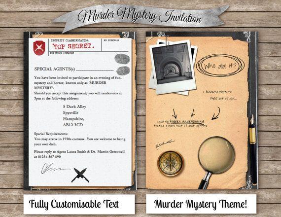 DIY Murder Mystery Invitation , Digital & printable invite , Clue themed evening dinner party , Inspector police cops sherlock , DIY Card