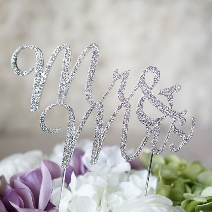 MR and MRS Silver Crystal Rhinestone Wedding Cake Topper Party Favor Decoration