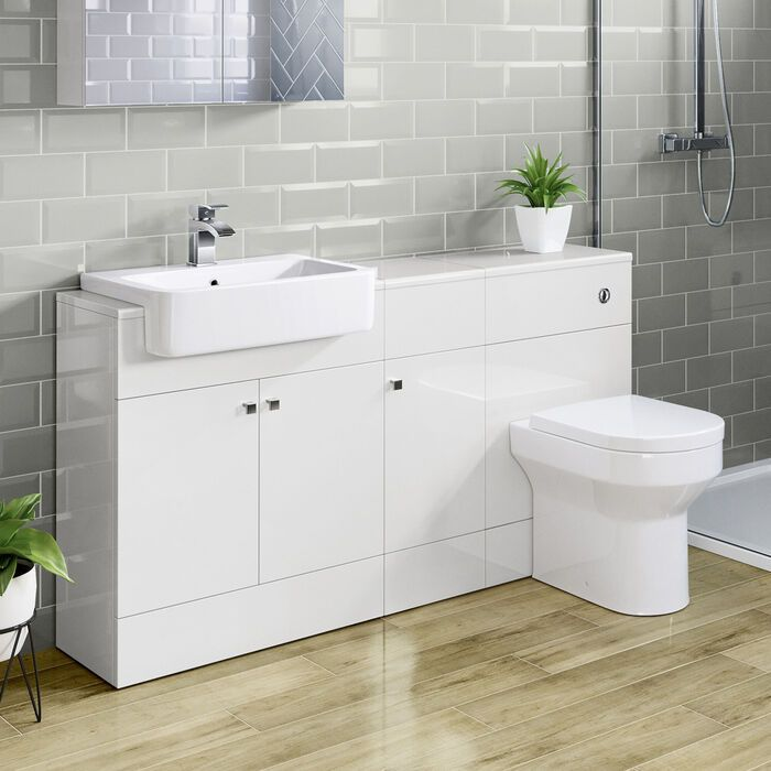 White Toilet Sink Vanity Unit With Storage 1500mm Unit Soak