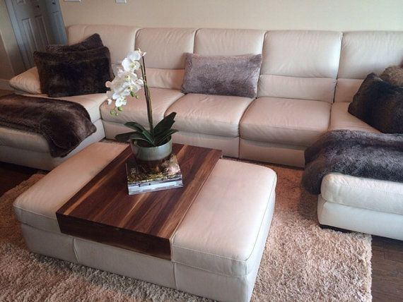 Recliner Sofa Walnut Ottoman Tray Wood Ottoman Wrap Tray by KennedyWoodworking
