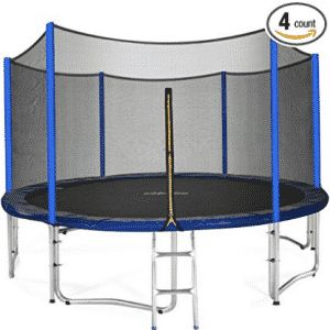 Zupapa 15 14 12 FT TUV Approved Trampoline with Enclosure net and poles Safety Pad Ladder Jumping Mat Rain Cover, Mini Trampolines