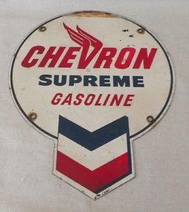 very old signs | ... about VERY RARE Vintage CHEVRON SUPREME GASOLINE Gas Pump TIN SIGN