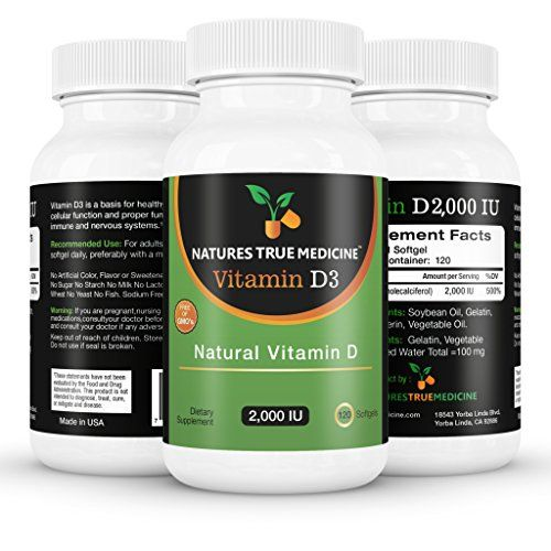 Vitamin D3 2000IU, 100% Pure, Premium Quality. The number 1 Best Vitamin D supplement available online today. Liquid softgel Vitamin D 120 capsules. 100% natural ingredients, no artificial colours, no magnesium stearate or other cheap and harmful fillers. Quality tested in a GMP Lab, made in the USA. GMO Free. Nobody beats us on quality and safety requirements. No other Vitamin D3 2000 IU supplement quite measures up. You Risk Nothing. 100% money back guarantee. Natures True Medicine ...