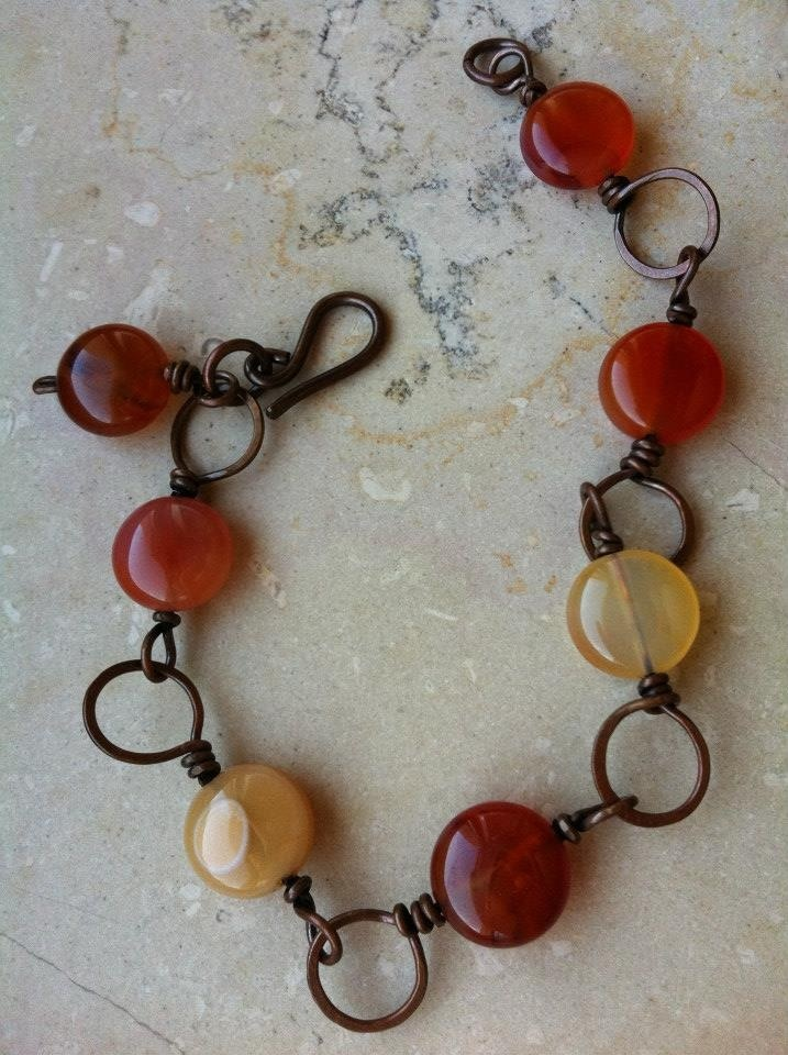 antique copper and carnelian bracelet