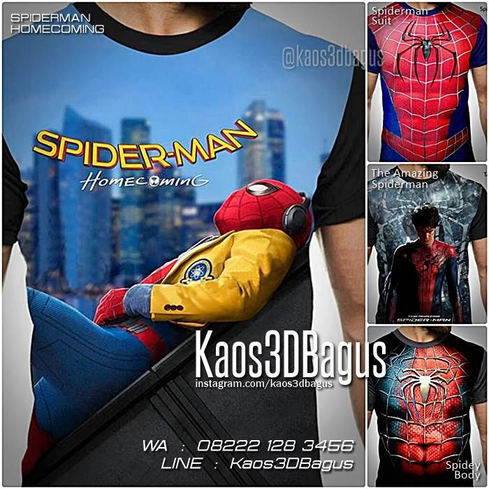 Kaos SPIDERMAN HOMECOMING, Kaos Kostum Spiderman, Kaos 3D Superhero, Kaos Film Spiderman, Kaos The Amazing Spiderman, https://kaos3dbagus.wordpress.com, WA : 08222 128 3456, LINE : Kaos3DBagus