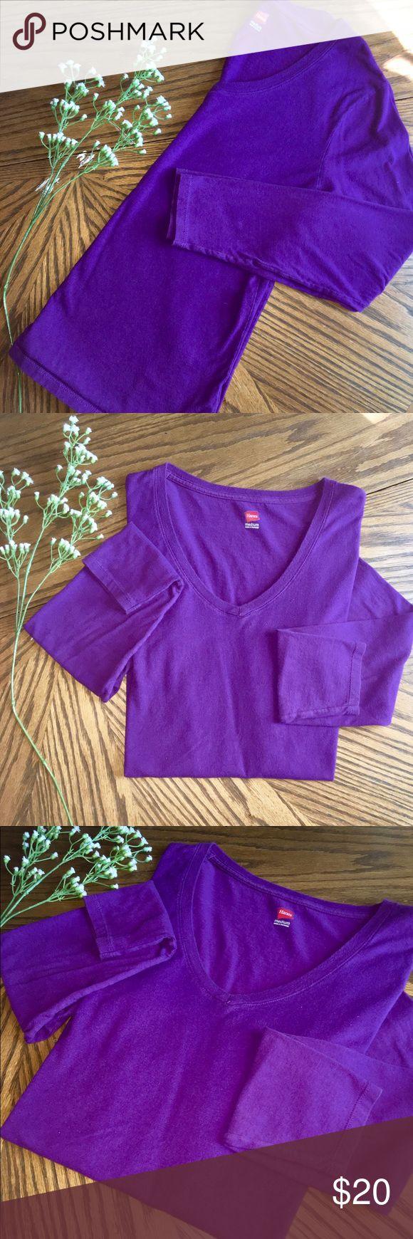 💜100% Cotton Purple Long Sleeve V-Neck Tee 💜100% Cotton Purple Long Sleeve V-Neck Tee • Super Soft 💜 EXCELLENT CONDITION 💜 Hanes Tops Tees - Long Sleeve