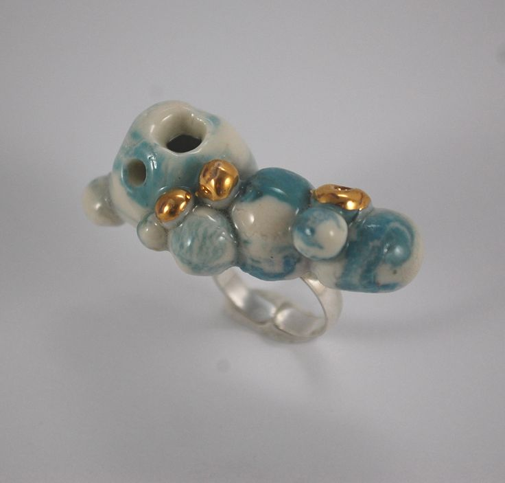 RING PORCELAIN, HANDMADE, GOLD, SILVER UNIQUE