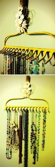 Rake necklace holder: Rake Jewelry, Ideas, Craft, Rake Necklace, Necklace Hanger, Necklace Holder, Diy, Jewelry Holder